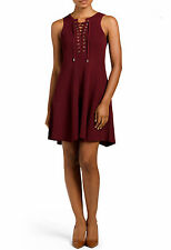 TORN BY RONNY KOBO Wine Lace Up Fit Flare Sleeveless Dress Size L NWT $350