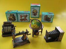 4 Die-Cast Pencil Sharpeners Miniature GLOBE,Sewing Machine,CAMERA,Cash Register