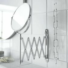 WALL MOUNTED MAGNIFYING EXTENDABLE SHAVING VANITY MAKEUP MIRROR BATHROOM CHROME