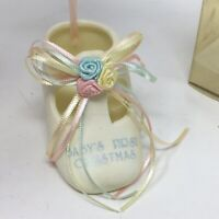 Vintage Baby's First Christmas Baby Shoe Boot Porcelain Ceramic Bootie Ornament
