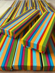 WHOLESALE JOBLOT 20 RAINBOW STRIPE NECKLACE BOXES, WATCH BOX, BRACELET BOX