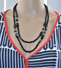 "Vintage 48"" Jet Black Faceted Glass Beads Crystal Strand Necklace Stamp Silver"