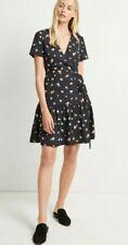 BNWT French Connection Frida Armoise Crepe Print Wrap Dress Black UK 12 RRP £90