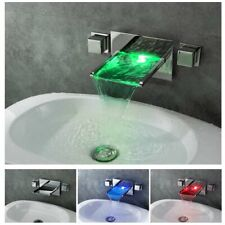 Chrome LED Waterfall Colors Changing Bathroom Basin Mixer Sink Faucet (HDD757)