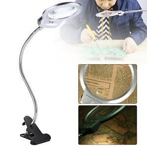 LED-illuminated Clip-on Desk Metal Hose Magnifier Jewellery  Glass  Loupe