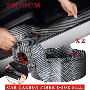 2X Carbon Fiber Universal Front Spoiler Bumper Lip Chin Skirt Protector Splitter