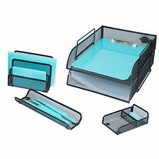 5 Piece Wire Mesh Desk Organizer Set – Black Office Desk Organizers for Women...