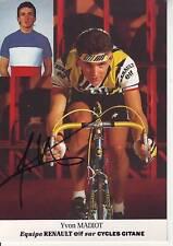 CYCLISME carte cycliste YVON MADIOT équipe RENAULT GITANE 1985 signée