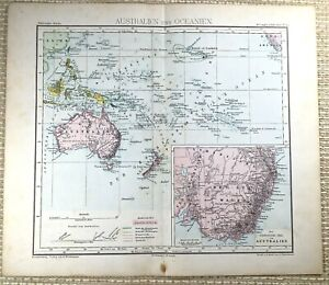 1882 Antique Map of Australia New Zealand Oceania New South Wales GERMAN 19th C