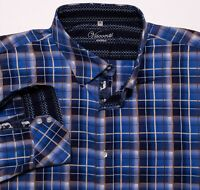 VISCONTI UOMO Long Sleeve Button Shirt Blue Plaid Whale Print Flip Cuff 3XL