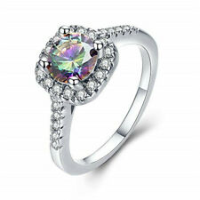 Fashion silver Sapphire Wedding Jewelry Bridal Anniversary Gift Ring 11 Colors