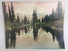 "Antique Hand tinted Photograph Mirror Lake Mt Rainier  10""x 12-3/4"" Vintage"