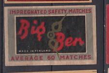 Ancienne étiquette Allumettes Finlande  BB88 Big Ben Average 60