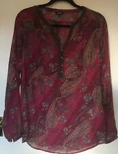 Paisley Red Wine Loose Blouse/Shirt/Loose fit/Straight Cut/Size XL/Brand O'stin