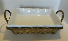 MAYFAIR & JACKSON MICROWAVE / DISHWASHER SAFE RECTANGLE CASSEROLE DISH W/ BASKET