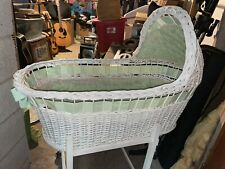 Vintage White Wicker Baby Bassinet With Mattress And Bedding