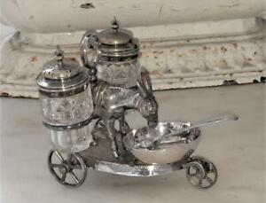 Enchanting Antique Novelty Silver Plate & Crystal Donkey with Paniers Cruet Set
