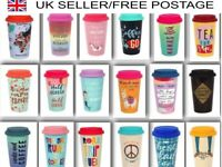 Ceramic Thermal travel mug Tea Coffee Various Designs DOUBLE WALLED IDEAL GIFT