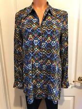 STEENA Maternity Geometric Black Brown Multi Shirt Top Blouse Tunic Size S EUC