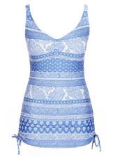 Penny BLUE Tile print Swimdress swimsuit curve my body slim bathers 16 NEW