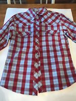 PANHANDLE SLIM Red Plaid Rhinestone Snap Front Shirt Top Size Medium Western Top