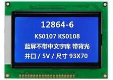 Blue Screen 128x64 Dot Matrix Cog Graphic Lcd Display Module Lcm Withks0107ks0108