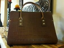 NWT Kate Spade Toffee Brown Crocodile Print Patent Leather Purse Bag Tote