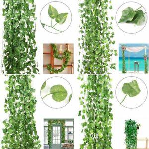12pcs Artificial Ivy Leaf Plants Fake Hanging Garland Vine Home Decorations US