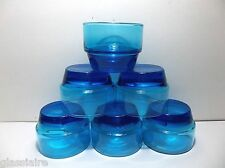 Vintage BLUE Glass DESSERT Dishes COCKTAIL CUPS Bluenique Set Of 6 STACKING