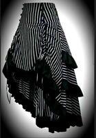 New Black & Grey Pinstripe Gothic Tiered Steampunk Saloon Skirt size L 14 16 18