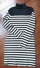 TopShop Size 6  Woven Turtle Neck Stripe Dress Black and White