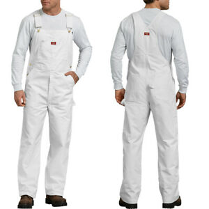 Dickies Bib Overalls Mens Painters bib Overalls 8953 White Cotton Pants