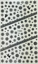 Nail Art 3D Decal Stickers Black Snowflakes & Angel Christmas Winter F284