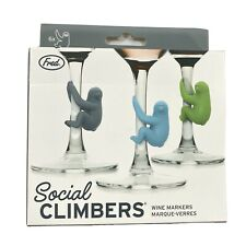 CUTE SLOTH STEM WINE GLASS MARKERS Six (6 ) count Fred Social Climbers Silicone