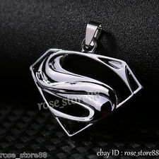Superman Pendant Necklace Beads Chain Gift Unisex's Men Silver Stainless Steel