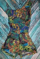 Body Central 1 Piece Jumpsuit Shorts Bohemian Print Ruffle, Medium, One Shoulder