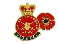 British Armed Forces Veteran and Poppy Lapel Pin Military Badge