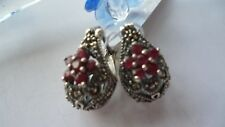 GENUINE 925 SOLID STERLING SILVER EARRINGS WITH RUBY  & MARCASITE
