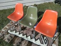 Set 3 HOWELL Commercial Fiberglass Shell Chairs Mid Century Modern Vintage Eames