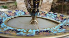 FRENCH ANTIQUE CHAMPLEVE ENAMEL MARBLE BRONZE 3 PARTS CANDLE HOLDER CANDLESTICK