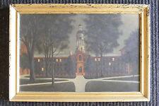 c.1900 antique primitive painting Princeton University NJ Nassau Hall New Jersey