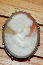 Cameo Pin Brooch Pendant Silver Hand Carved in Italy Victorian Style