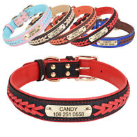 Braided Leather Dog Collars for Large Dogs Personalized Engraved ID Name Custom