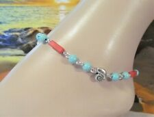 Beaded, Beach Anklet, Conch Shell Anklet Seashell Anklet Blue and Red Turquoise