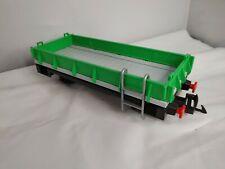 Playmobil Geobra R/C RC Train 4017 Low Sided Flatbed Flat Wagon Green Car Ladder