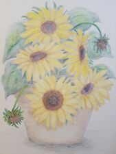 Original Vintage Colored Pencils Drawing Painting Yellow Sunflowers Signed Marcy