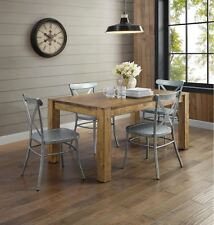 Rustic Wood Farmhouse Dining Table Industrial Silver Metal Chair 5 pc Set for 4