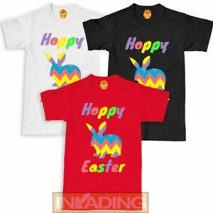 Hoppy Easter Bunny T-Shirt Kids Childrens Cute Cool Novelty Happy Gift Egg Tee