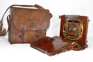 1900s Butcher's 'The National' folding field plate camera & Dark slides & case