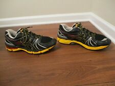 Used Worn Size 14 Asics Gel Kayano 18 Shoes Black Silver Gold Sunset